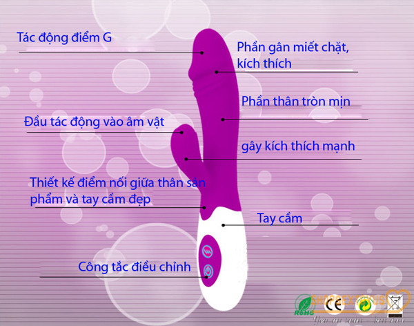 Dương vật giả cầm tay dùng pin 30 chế độ PRETTY LOVE – DV 252   Máy rung tình dục dạng que Prettlove