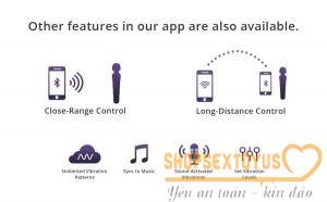 Hướng dẫn sử dụng chày rung Lovense DOMI 2 Bước 1: Tải ứng dụng Lovense remote từ CH play đối với điện thoại Android, App store nếu dùng IOS . Bước 2: Ấn giữ 3-5s nút nguồn ( hình tam giác lên ) của sản phẩm, để khởi động máy. 2 phím trên thân máy này có thể điều khiển tăng, giảm tần số, thay đổi chế độ rung khi không dùng smartphone. Bước 3: Bật bluetooth trên điện thoại. Bước 4: Truy cập vào app vừa tải về để kết nối với sextoys và sử dụng. Bước 5: Khi muốn kết thúc cuộc yêu thì ấn giữ 3-5s nút nguồn để tắt máy. Đem sản phẩm đi vệ sinh, dùng khăn mềm lau khô, rồi cất đi. Một số lưu ý Dùng thêm gel bôi trơn để tự sướng dễ dàng hơn, thăng hoa hơn. Nếu không dùng app có thể thay đổi cường độ rung và chế độ rung bằng nút ấn trên thân máy. Không dùng chất tẩy rửa mạnh: Cồn, xà bông, xà phòng,… để làm sạch silicon. Không để nơi nhiệt độ cao hay phơi nắng Khi vệ sinh sextoy phải nhẹ nhàng tránh móng tay làm rách, trầy xước nó. Bảo quản sản phẩm ở nơi khô ráo. Không ngâm dưới nước, tránh hư lỗ sạc.